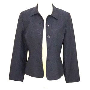 Mid-Length Navy Blue Silk Jacket Blazer